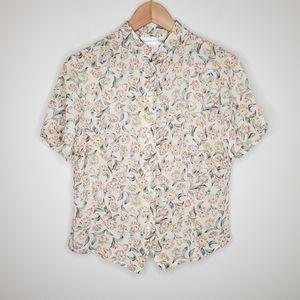 Vintage 90s Floral Short Sleeve Button Up Blouse